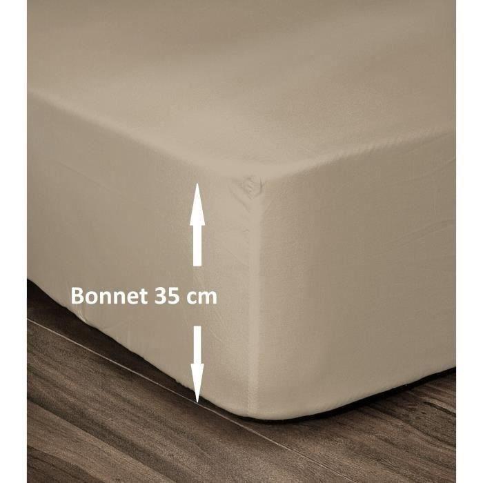 Couleur Drap House Satin 180x200 Bonnet 40 cm Acier