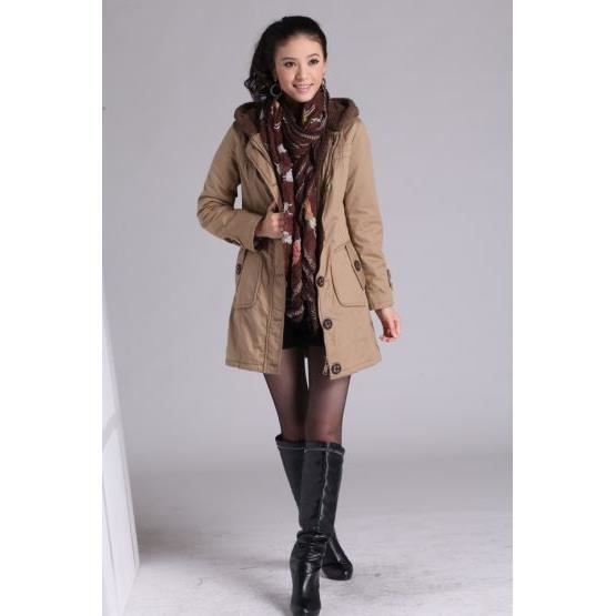 manteau femme mi long parka capuche beige achat vente manteau caban cdiscount. Black Bedroom Furniture Sets. Home Design Ideas