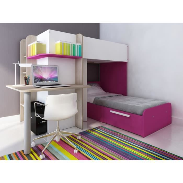 lits superpos s samuel 2x90x190cm bureau int gr pin blanc et rose achat vente lits. Black Bedroom Furniture Sets. Home Design Ideas