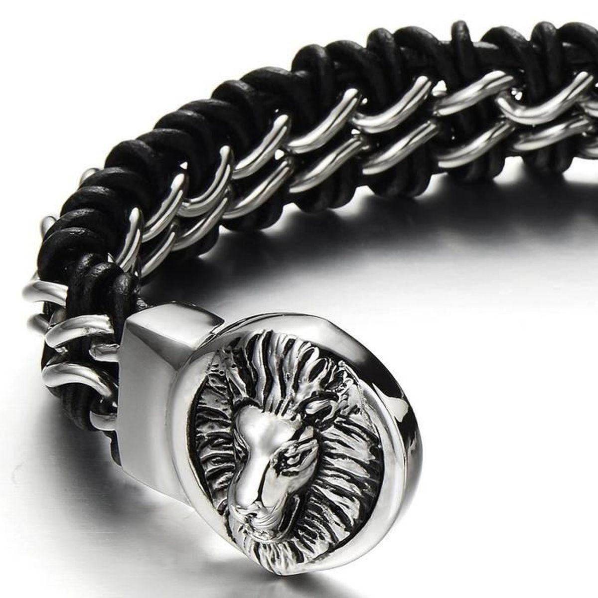 Cuir Noir V/éritable COOLSTEELANDBEYOND Grande Grand Bracelet en Cuir Tress/é Homme Acier Inoxydable T/ête de Lion