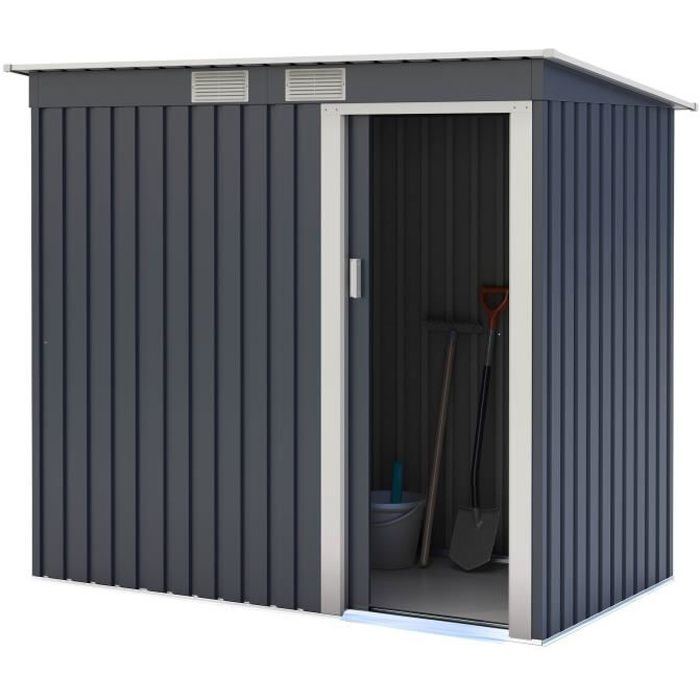 Abri de jardin acier 2,43 m2. avec kit d'ancrage inclus