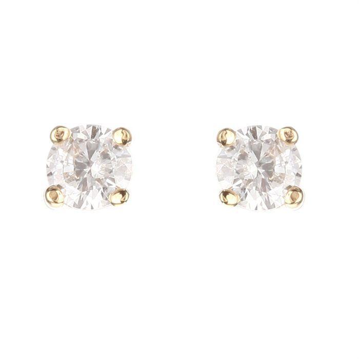 MONTE CARLO STAR Boucles d'Oreilles Solitaire Or Jaune 750° et Diamants 0.20 cts Femme