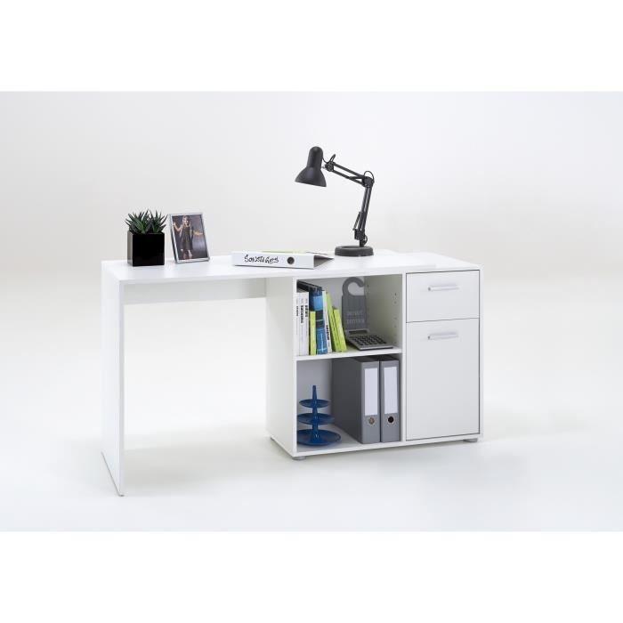 larson bureau angle r versible contemporain blanc l 117 cm achat vente bureau larson. Black Bedroom Furniture Sets. Home Design Ideas