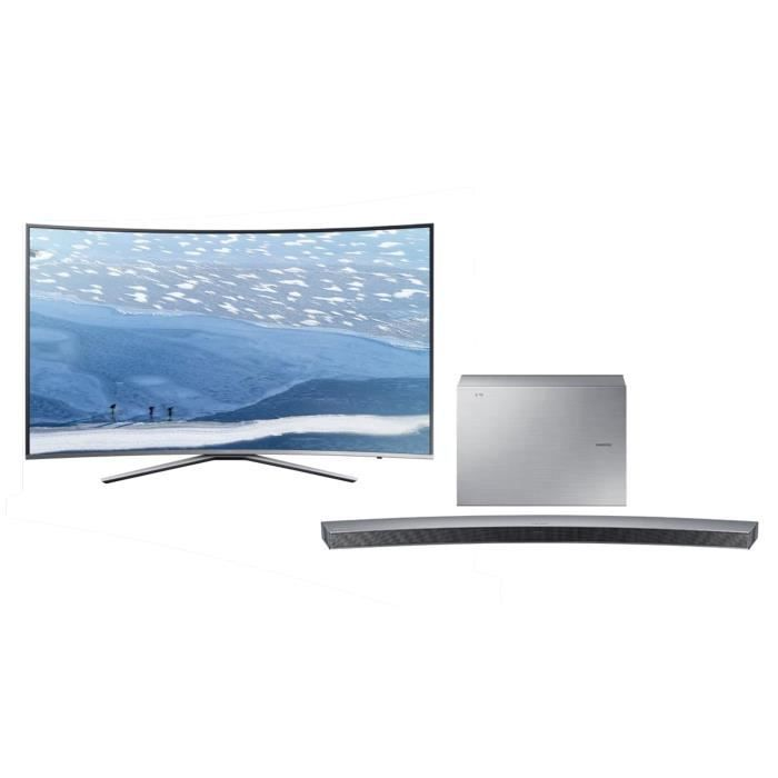 pack tv samsung incurv uhd 138 cm 55 ue55ku6500uxzf barre de son samsung incurv e hw. Black Bedroom Furniture Sets. Home Design Ideas