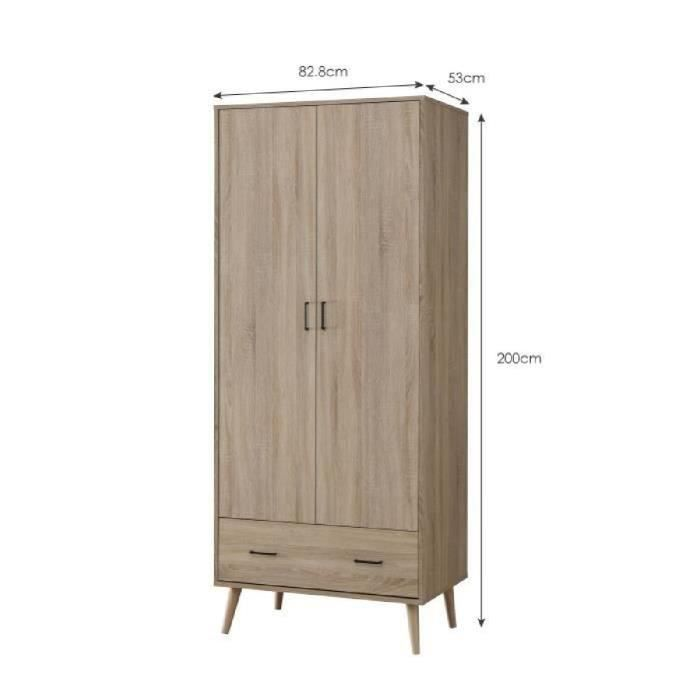 step armoire de chambre scandinave pieds en bois massif et poign e en m tal d cor ch ne sonoma. Black Bedroom Furniture Sets. Home Design Ideas