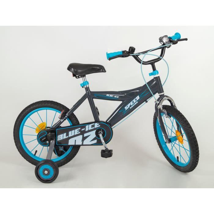 """VÉLO ENFANT Vélo 16"""" Eco Ice Blue - Enfant mixte - Noir et ble"""