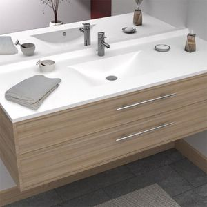 LAVABO - VASQUE CREAZUR Plan simple vasque Blanc 140cm