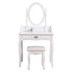 COIFFEUSE Coiffeuse classique blanche + tabouret - L 75 cm