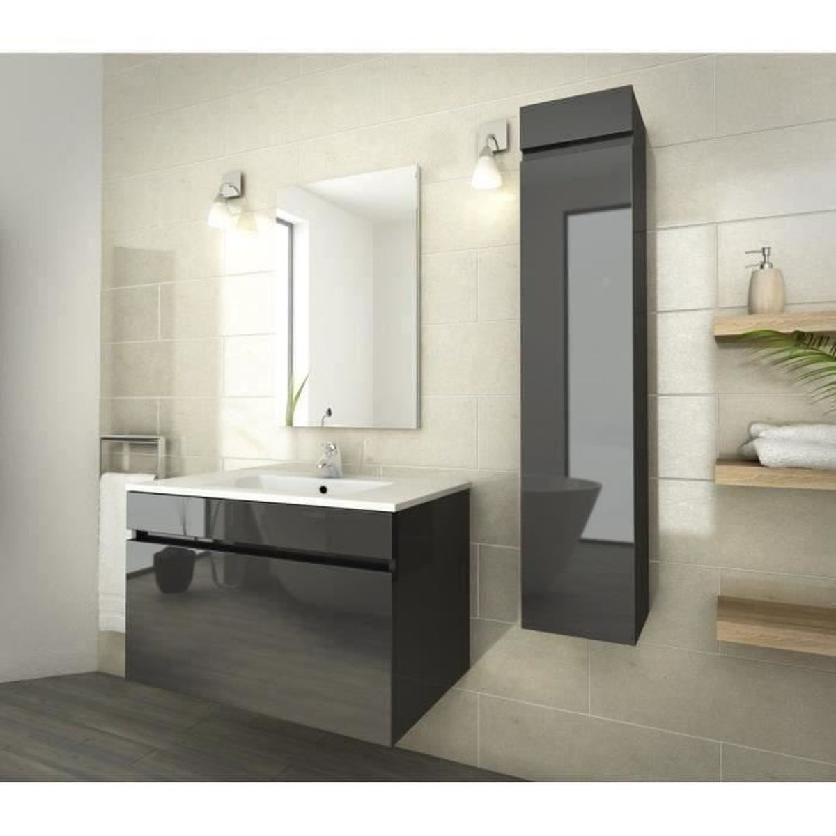 luna ensemble salle de bain simple vasque l 80 cm gris vernis achat vente salle de bain. Black Bedroom Furniture Sets. Home Design Ideas