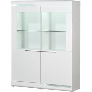 VITRINE - ARGENTIER OVIO Vitrine 2 portes - Laqué blanc brillant - L 1