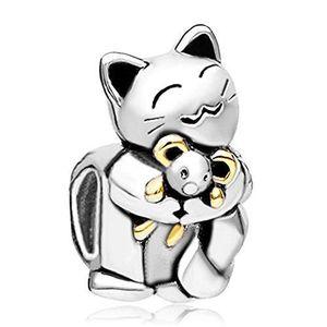 MixiuEuro femmes filles chat boucles doreille argent sterling 925 CZ zircon chat chat boucles doreilles filles enfant bijoux