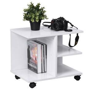 TABLE BASSE Table basse avec rangement mélaminé décor blanc et
