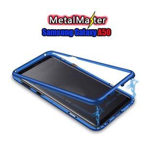 RAYOO Coque Samsung Galaxy A30 Magn/étique Housse,Antichoc M/étal Cadre Bumper avec Avant et Arri/ère Verre Tremp/é Transparente /Étui Ultra-Slim Plein /écran Couverture /à Rabat Design Case Cover,Bleu