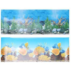 DÉCO ARTIFICIELLE Aquarium Fish Tank Fond Decal 3D Papier Peint Rect