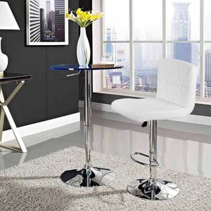 TABOURET DE BAR Lot de 2 Tabourets de Bar Simili Blanc - Style Con