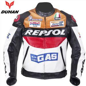 BLOUSON - VESTE DUHAN Moto GP Cuir Blouson Riding Moto Racing Blou