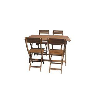 Ensemble table et chaise de jardin Ensemble repas de jardin pliable 4 personnes - tab