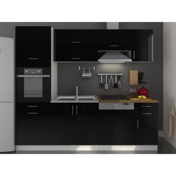 metro cuisine compl te laqu noir 240 cm achat vente cuisine compl te metro cuisine compl te. Black Bedroom Furniture Sets. Home Design Ideas