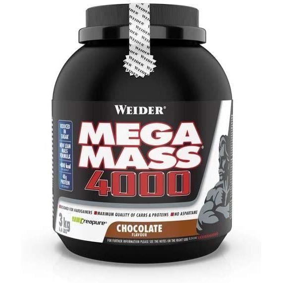 WEIDER Mega Mass 4000- Chocolat Milkshake Gainer avec de la Créatine et de la Protéine- Bodybuilding-Fitness- 3kg[410]
