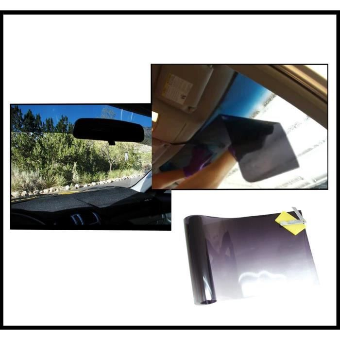 Film solaire de qualite pour pare-brise auto 20cm x150cm, teinté en Noir-Clair