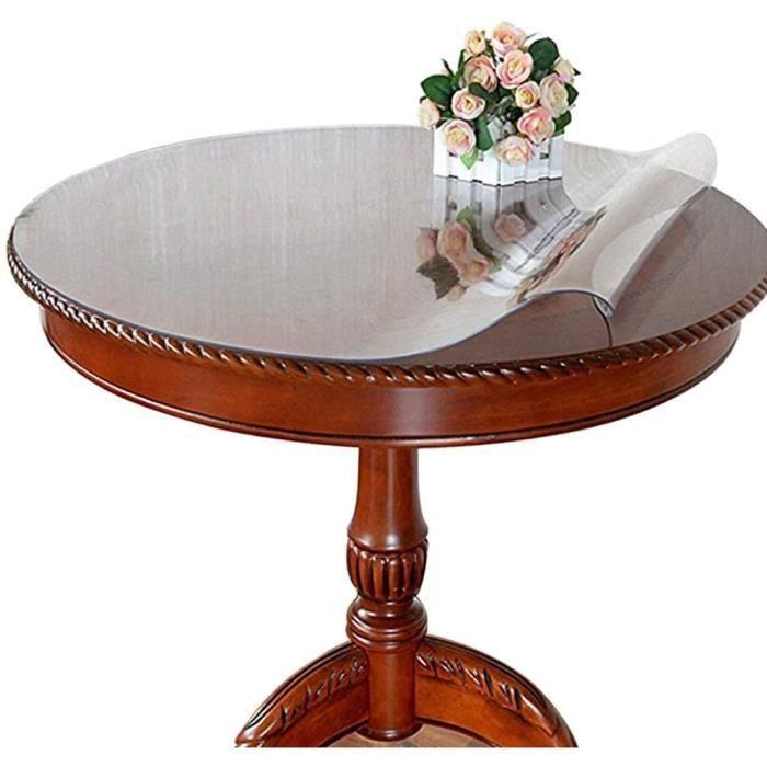 Ever Fairy Nappe de table ronde transparente en PVC imperm&eacuteable, protection imperm&eacuteable pour bureau, taille person524