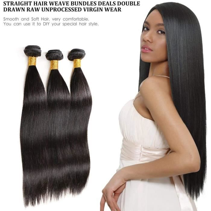 Mèches Bresilienne Perruque 3 lot Cheveux Lisse Tissage Humain Hair (12-12-12-)