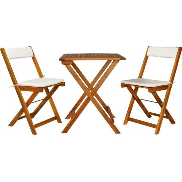 WON 7 pcs Jeu de Bistro - Ensemble de Bistro de Jardin avec Coussins en Bois d'Acacia Massif 1 Table Pliante et 2 Chaises