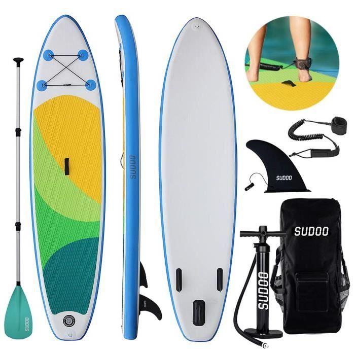Sudoo Stand Up Paddle Gonflable 300x75x15cm (Ép), Pompe Haute Pression, Pagaie/Leash/Sac, Kit de Réparatio, 2019