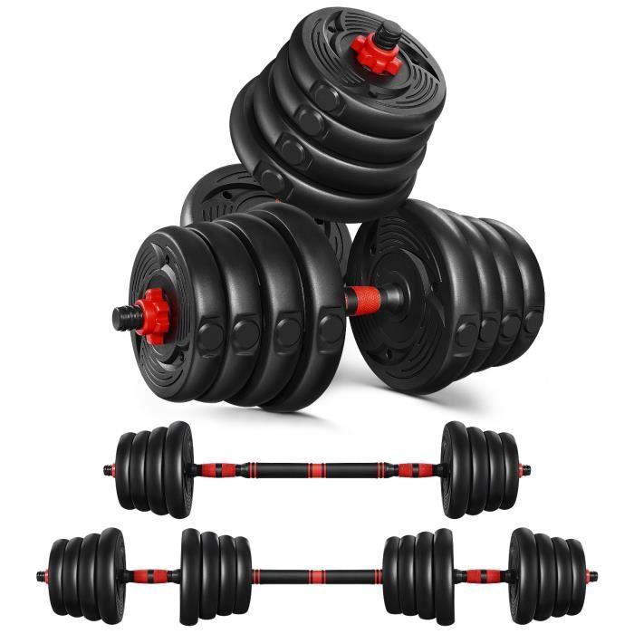 Kit Haltères 30kg Musculation Réglables – Poids Musculation (Noir)