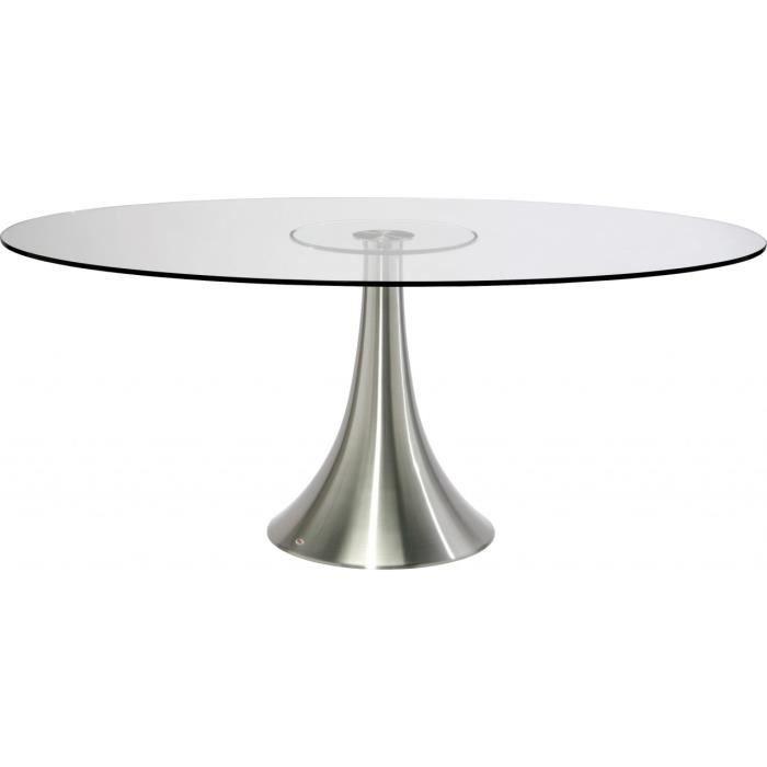 Table design ovale Loft alu et verre 180 x 120 cm