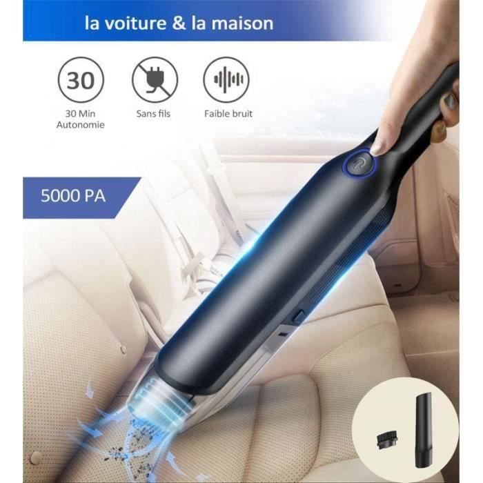 Aspirateur à Main sans Fil, 5000 PA Aspirateur Voiture Puissant Portable Rechargeable pour Maison, Voiture, Bureau, Canapé etc