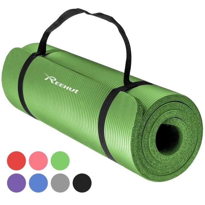 Tapis d'Exercices de Yoga Reehut 12 mm Très épais NBR Haute Densité, Pour Pilates, Forme Physique et Entraînement, Avec Sangle Noir