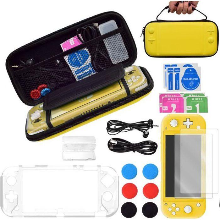 Étuis pour Switch Lite 2019, 13 en 1 Pochette Accessoires Protection Housse + Coque Transparente +2 Protection écran + 6Thumb Grip
