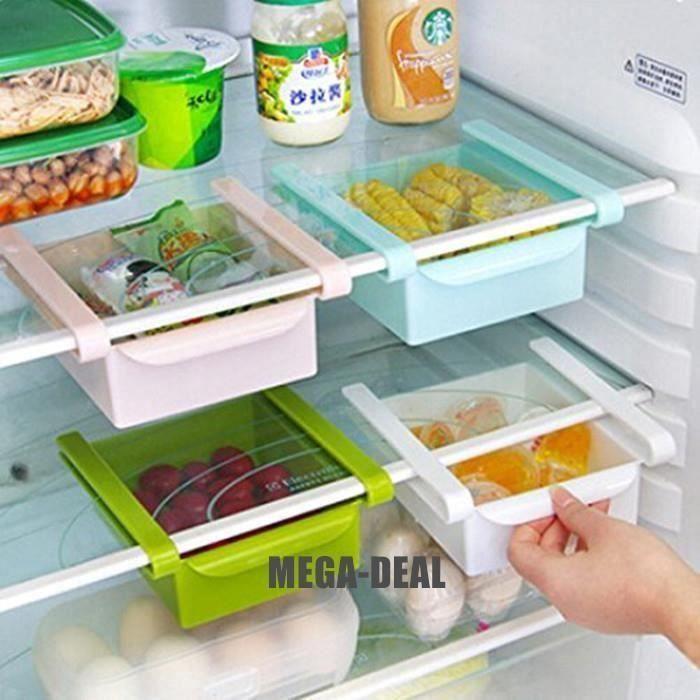 Mega-Deal Lot de 4 Frigo de cuisine en plastique Réfrigérateur Congélateur Holder Support de rangement étagère de cuisine Organi