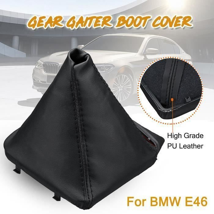 NEUFU Poignée En Cuir PU Manette De Levier De Vitesses Couvercle Manchon Noir Pour BMW E46