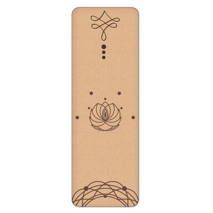Tapis de Yoga TPE en liège naturel, 4mm, matelas de sport, Pilates, mince, antidérapant, absorbant la sueur, sans odeur, [A2A4E42]
