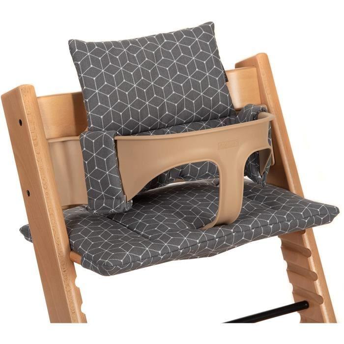 Coussin d'Assise pour Chaise Haute Stokke Tripp Trapp 2 pièces-Housse confort Bébé, Réducteur de Siège- Gris-DFG