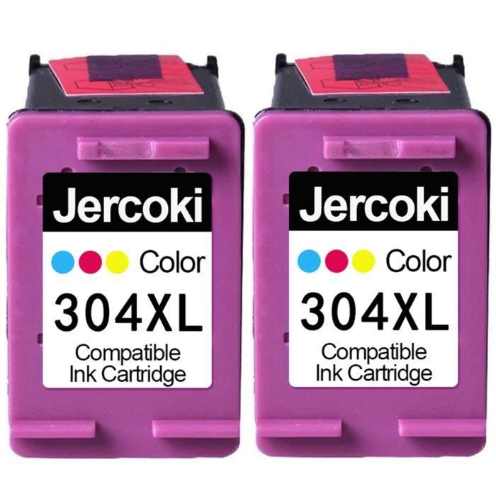 2 Couleur Cartouches d'encre Compatible pour HP 304 XL Compatible pour DeskJet 2620 2630 2634 3720 3730 3733 3735 Envy 5020 5030