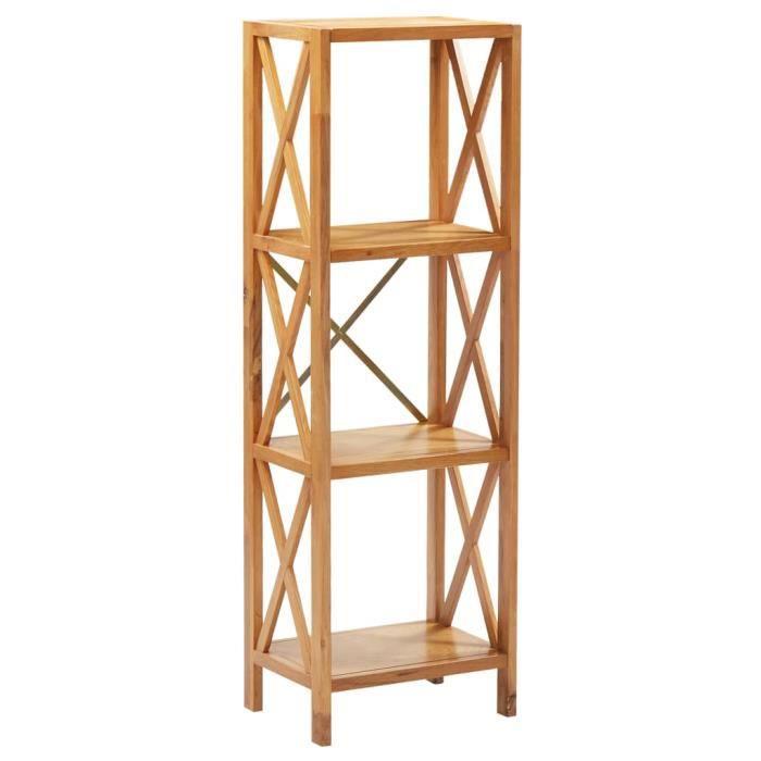 Style Industriel Loft - Étagère à 4 niveaux Moderne - Meuble Étagère Meuble de rangement 40x30x125 cm Bois de chêne massif 44216