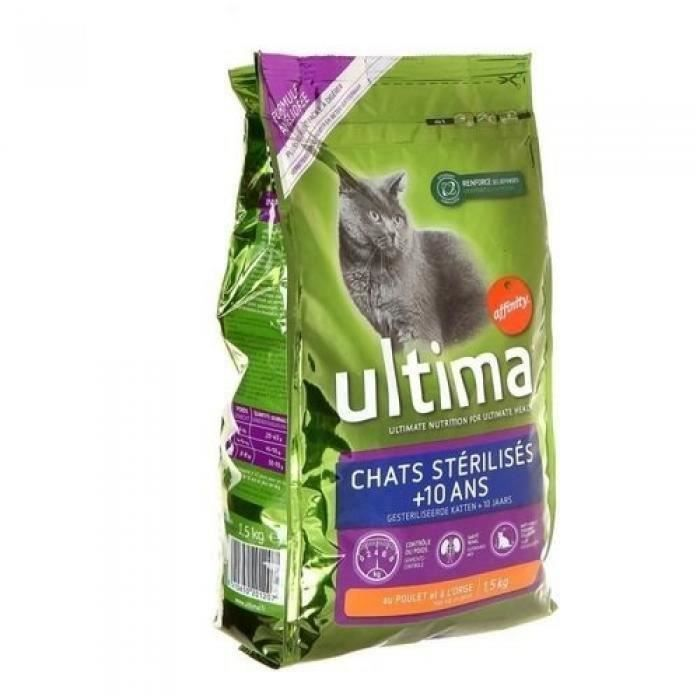 ULTIMA Croquettes - Pour chat Senior - 3 x 1,5 kg