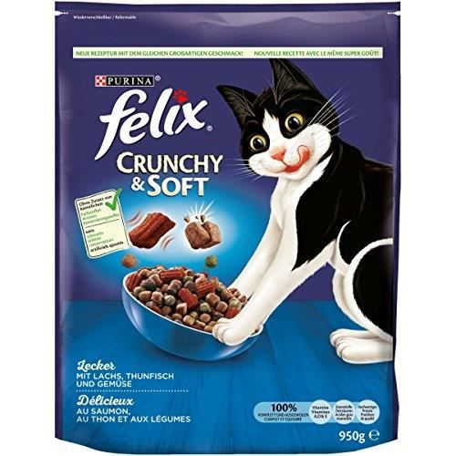 Felix Lot de 4 boîtes de Nourriture pour Chat sèche, croquante et Molle (4 x 950 g) 12309924