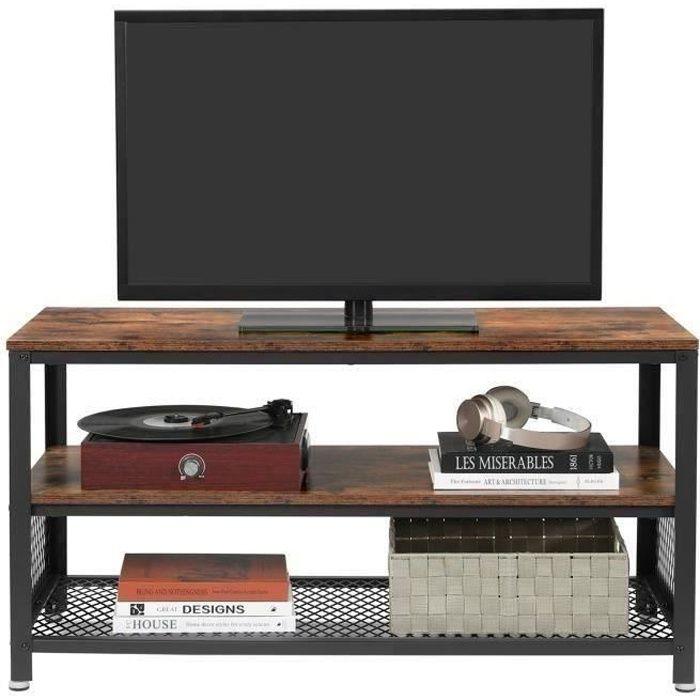 FREOSEN Meuble TV Style Industriel 100x40x52 cm Avec Armature métallique - Texture Bois