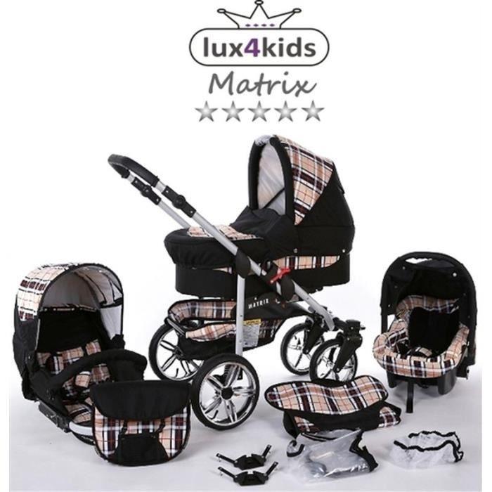 Matrix 2 Poussette Combinée 3en1 Set été Roues pivotantes Nacelle Siège Auto Poussette Canne 47 noir & carreaux
