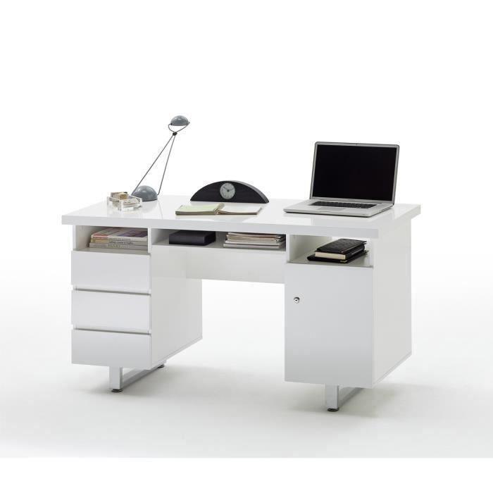 Bureau laque blanc brillant avec 3 tiroirs - L140 x H76 x P60 cm