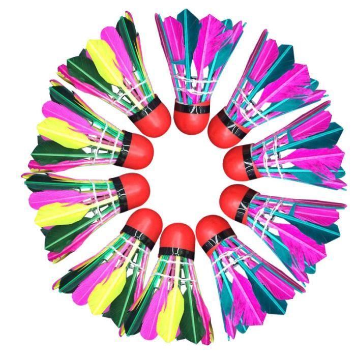 11pcs plumes de canard badmintons jeu de badminton coloré balle mousse tête volant pour intérieur extérieur VOLANT DE BADMINTON