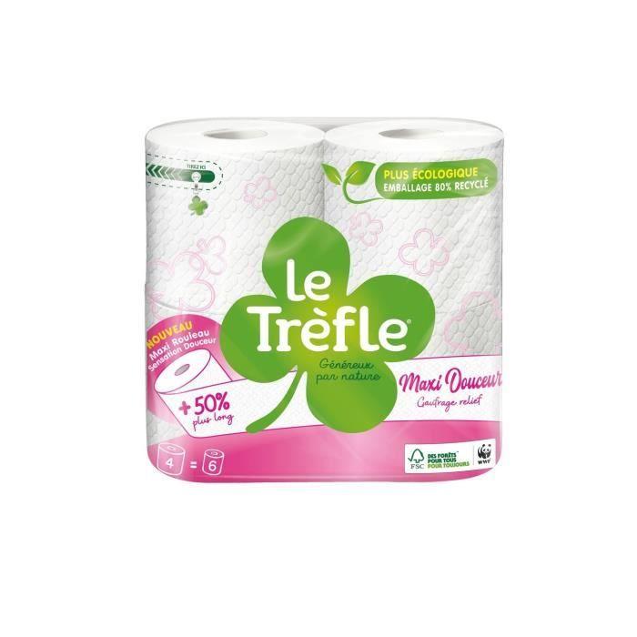 LE TREFLE Papier toilette Maxi Douceur - Blanc - x4 = 6 rouleaux