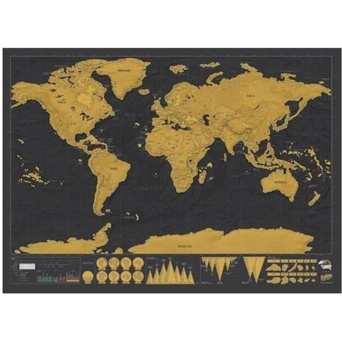Carte du monde gratter scratch map carte montre for Decoration murale carte du monde