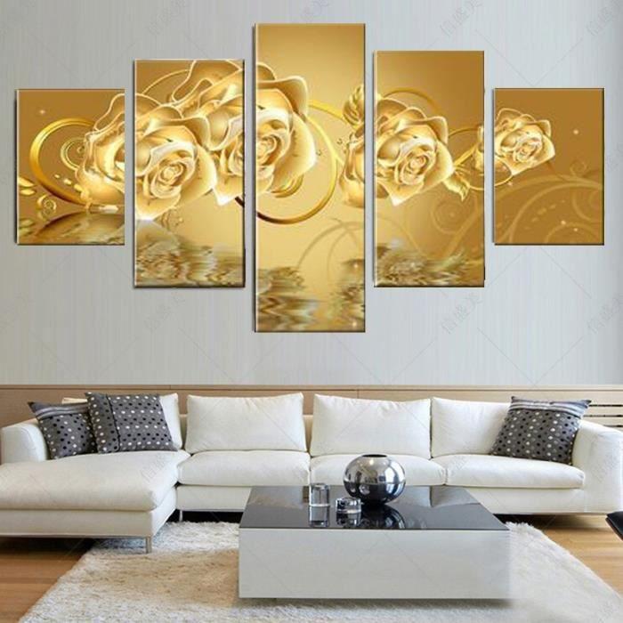 5 Piece Canvas Art Fleur Dorée Peinture Pour Salon Art De Mur Art Décoration Intérieure Toile Peinture Pas De Cadre