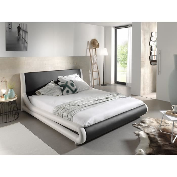lit design 160x200 achat vente lit design 160x200 pas cher cdiscount. Black Bedroom Furniture Sets. Home Design Ideas