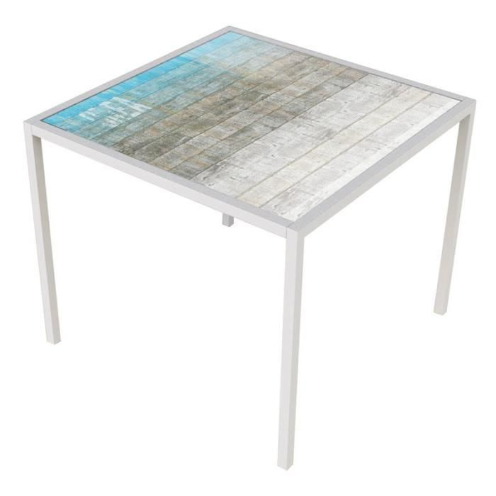 Table de repas carr e blanc mat orae l 90 x l 90 x h for Table blanc mat